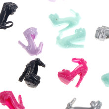 10 Pairs Assorted Colorful Sandals Copy Crystal High Heels Shoes For Doll Accessories Clothes Dress Acc(China)