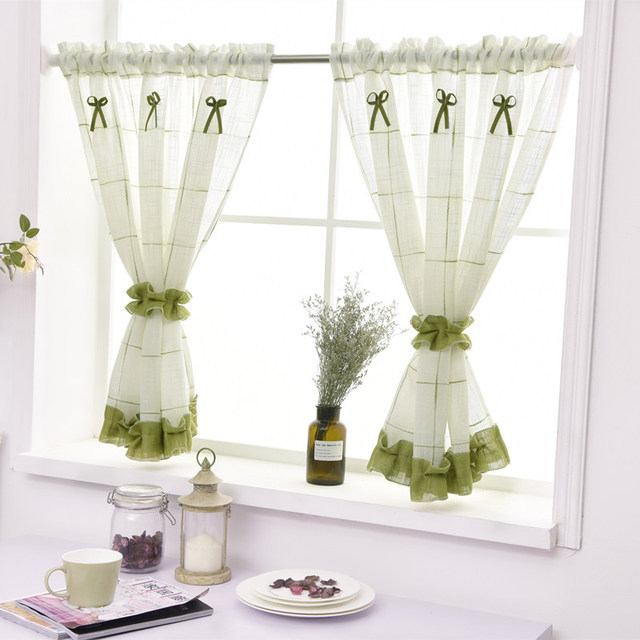 Short Curtains For Kitchen Yarn Dyed Plaid Linen Tulle Curtain for Living Room Bedroom White Blinds on Window Home Decor rideau