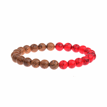 Elastic Natural Wood Beads Bracelet Bracelets Jewelry New Arrivals Women Jewelry Metal Color: 022-2