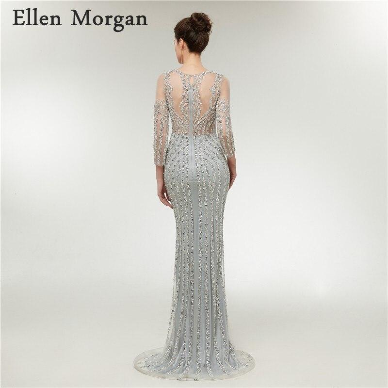Silver Long Sleeves Mermaid Evening Dresses 2018 Sheer