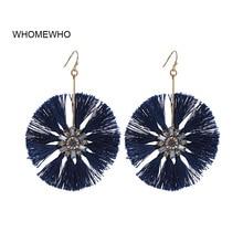 WHOMEWHO Gold Metal Handmade Navy Blue Thread Tassel Acrylic Rhinestone Flower Minimalist Earring Korean Fashion Wedding Jewelry