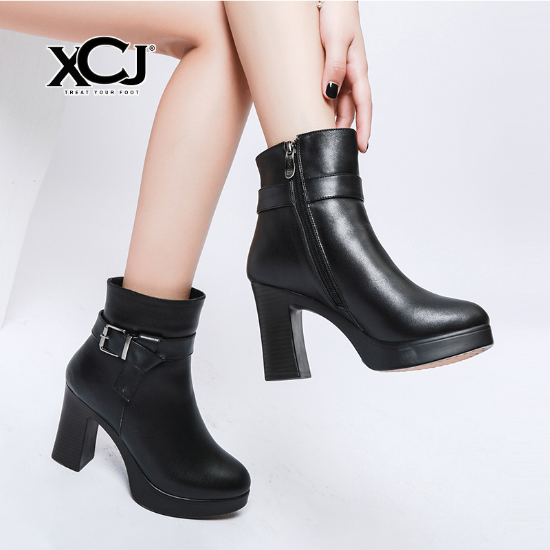 купить Women Winter Shoes Women Genuine Leather Natural Wool Boots Ankle Boots Brand Women Shoes High Quality With Platform XCJ по цене 4229.44 рублей