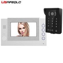 USAFEQLO 7 дюймов цветной ЖК-дисплей видео домофон система разблокировка двери цветной дверной Звонок камера 700TVL ночного видения
