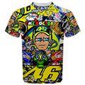 Envío gratis 2016 nuevo campeón valentino rossi carreras fullprint tee camiseta mons stickerbom moto gp camiseta camiseta