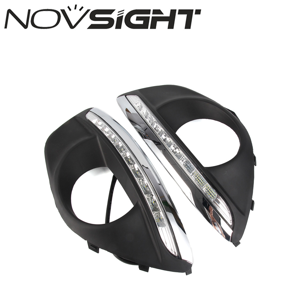 NOVSIGHT Car LED Daytime Running Light Auto Fog Lamp White DRL Daylight Fit For Hyundai Santafe 2010-2012 car styling daytime running light auto fog lamp for b mw e90 3 series led daylight drl