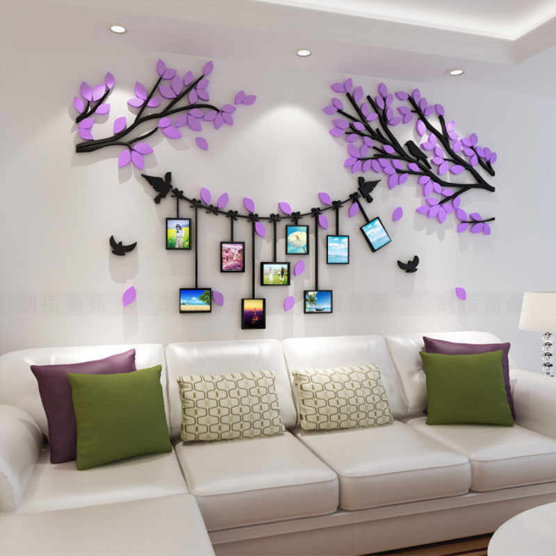 Foto familiar árbol artístico 3D pegatinas de pared papel tapiz acrílico para sala de estar dormitorio cocina calcomanías decorativas cartel de decoración de pared