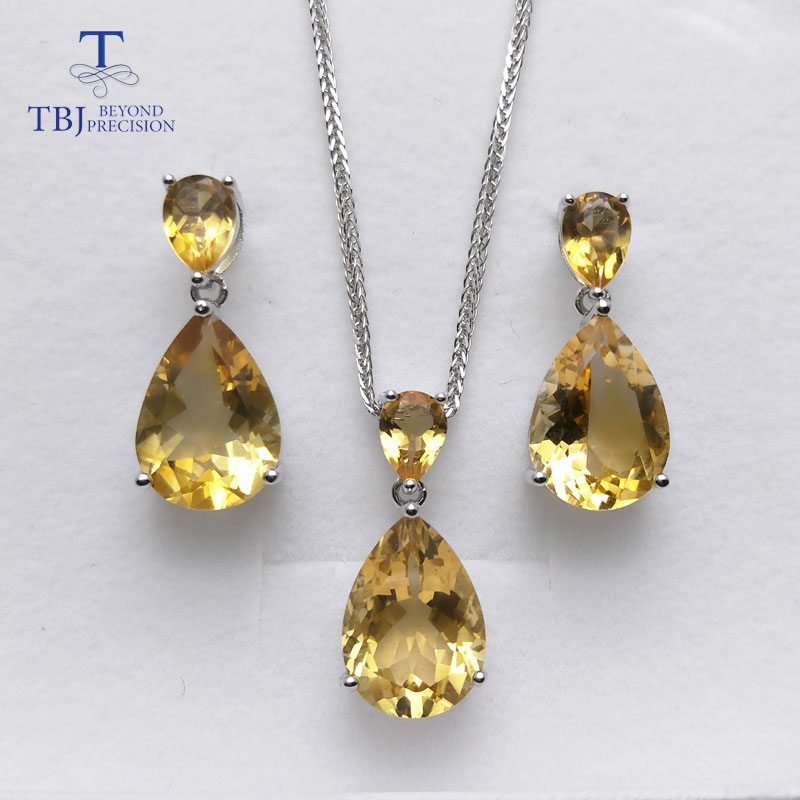 TBJ natural brazil citrine gemstone earring and pendant S925 silver big shiny jewelry for women wedding