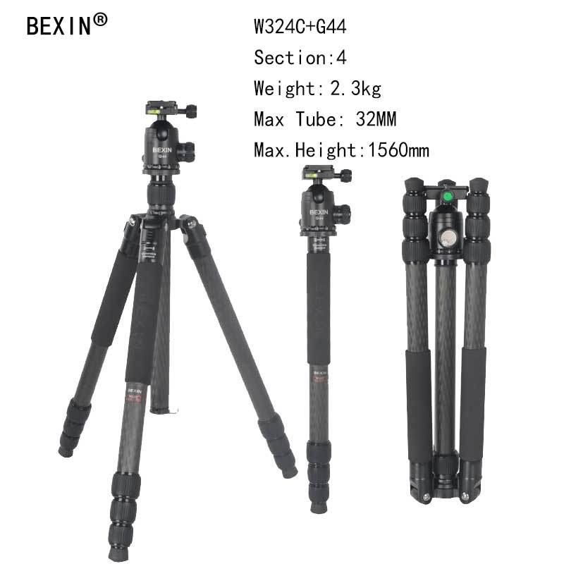 Bexin Camera Professional Flexible carbon Fiber Traveling Tripod with Ball Head chang Monopod for DSLR Camera compact Tripod bexin 4 sections carbon fiber camera tripod ball head kits camera monopod head for canon nikon sony digital camera