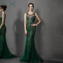 Deep Green Evening Dress Long O Neck Luxury Beaded Crystal Mermaid Evening Gown Prom Dress 2019 Party Wear Vestido de noche NE79
