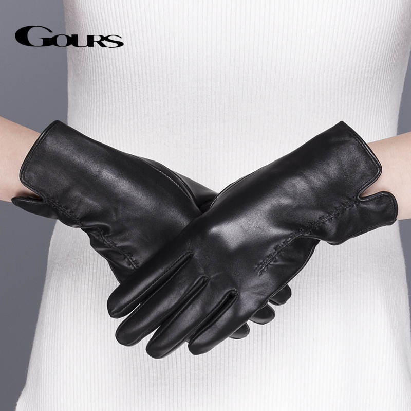 Gours Äkta läderhandskar för kvinnor Classic Black Sheepskin Finger Touch Screen Glove Varm vinter mode Vantar Ny GSL075