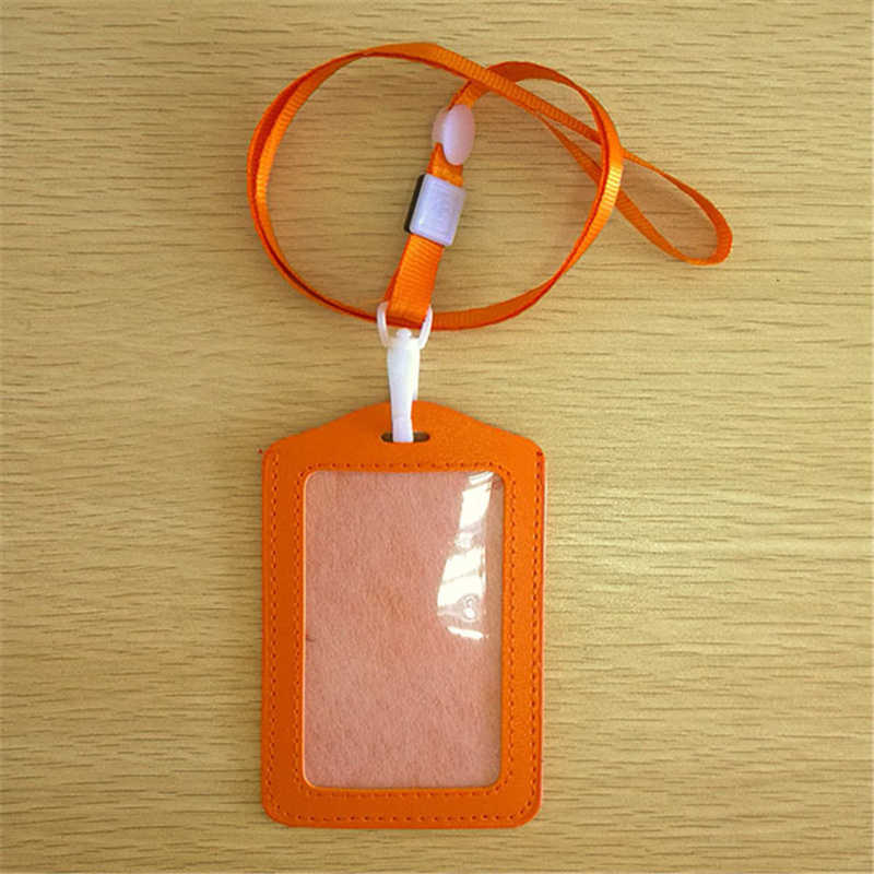 FHADST New Candy Colors ID Holders Bank Credit Card Holders Unisex PU Leather Neck Strap Working Badge with Lanyard Wholesale