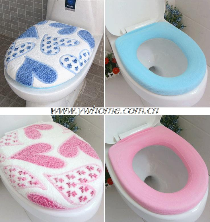 1Set Soft Coral Fleece Heart Toilet Seat Lid Clean Washable Twin Top Cover+O-Type Toilet Seat Cover Bathroom Cushion Pad Mat Set cubre tapa de inodoro