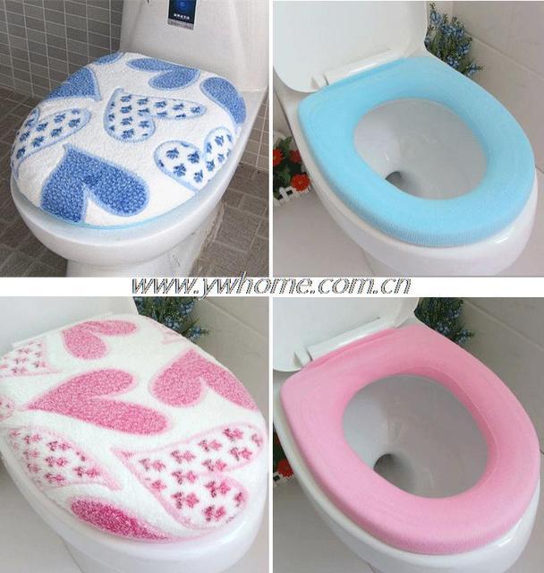 1 Set Corallo Molle Del Panno Morbido Cuore Toilet Seat Coperchio Clean Lavabile