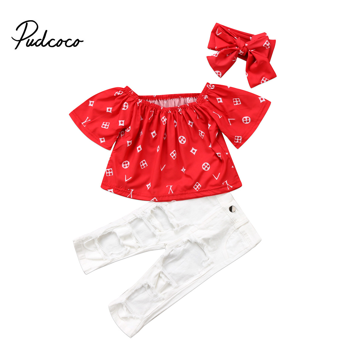 3PCS Newborn Baby Kid Girls Xmas Party Outfits Off Shoulder Red Shirt Tops+White Hole Pants+Headband Girls Clothes3PCS Newborn Baby Kid Girls Xmas Party Outfits Off Shoulder Red Shirt Tops+White Hole Pants+Headband Girls Clothes