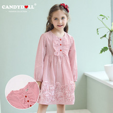 CANDYDOLL Girls fall new dress classic round collar point princess comfortable childrens Round red