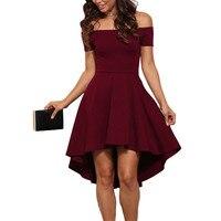 Sexy 0ff Ramię Sukienka Kobiety Stałe Rura Górna czerwone Wino czarne Sukienki Bodycon Party Dress Krótki Przód Długi Powrót Vestidos XL