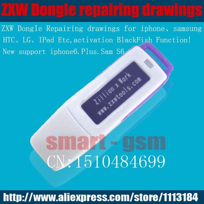imágenes para Original Chorrocientos x Trabajo ZXW DONGLE teléfono teléfono móvil de Reparación de Reparación de placa de circuito PCB diagrama del circuito de activación de pescado Negro