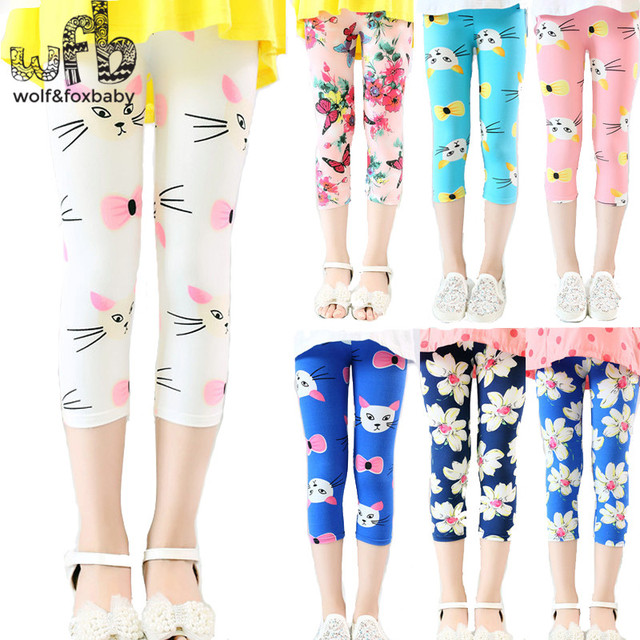 33fedce7c83e7 Retail 3-10years 10 color print footless girls knee length capri pants  Cropped clothing kids leggings children summer cool