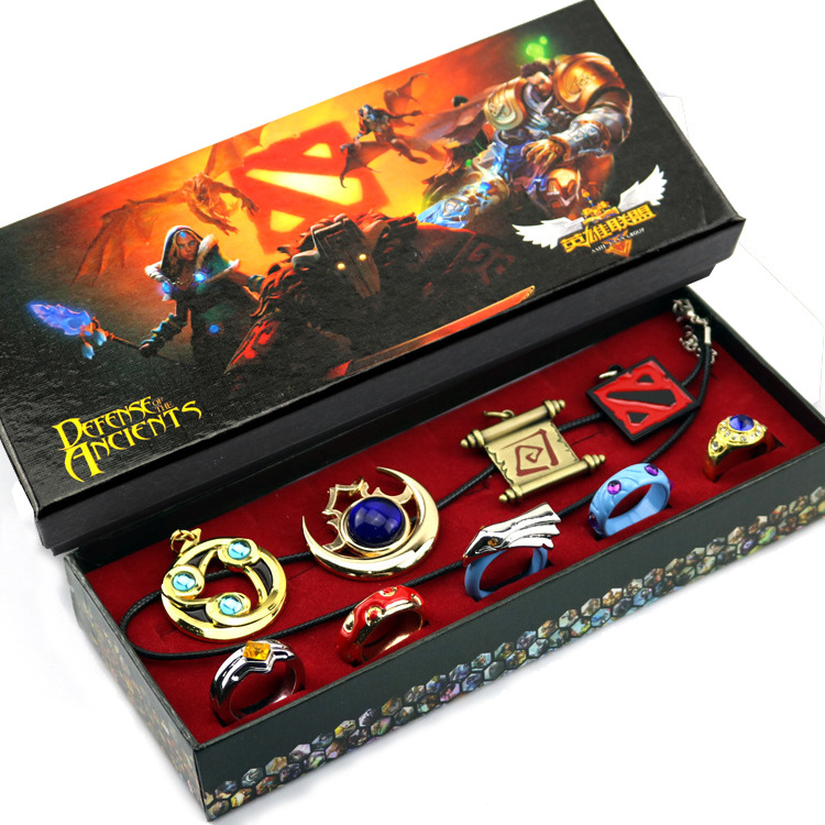 9pcs Anime Game Dota 2 Aghanim's Scepter God Rod Pendant Necklace Rings Keychain Cosplay Jewelry Accessories for Party Halloween