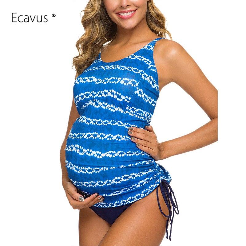 Maternidade maiô flor impresso duas peças tankini gravidez maiô floral plus size colete de banho beachwear