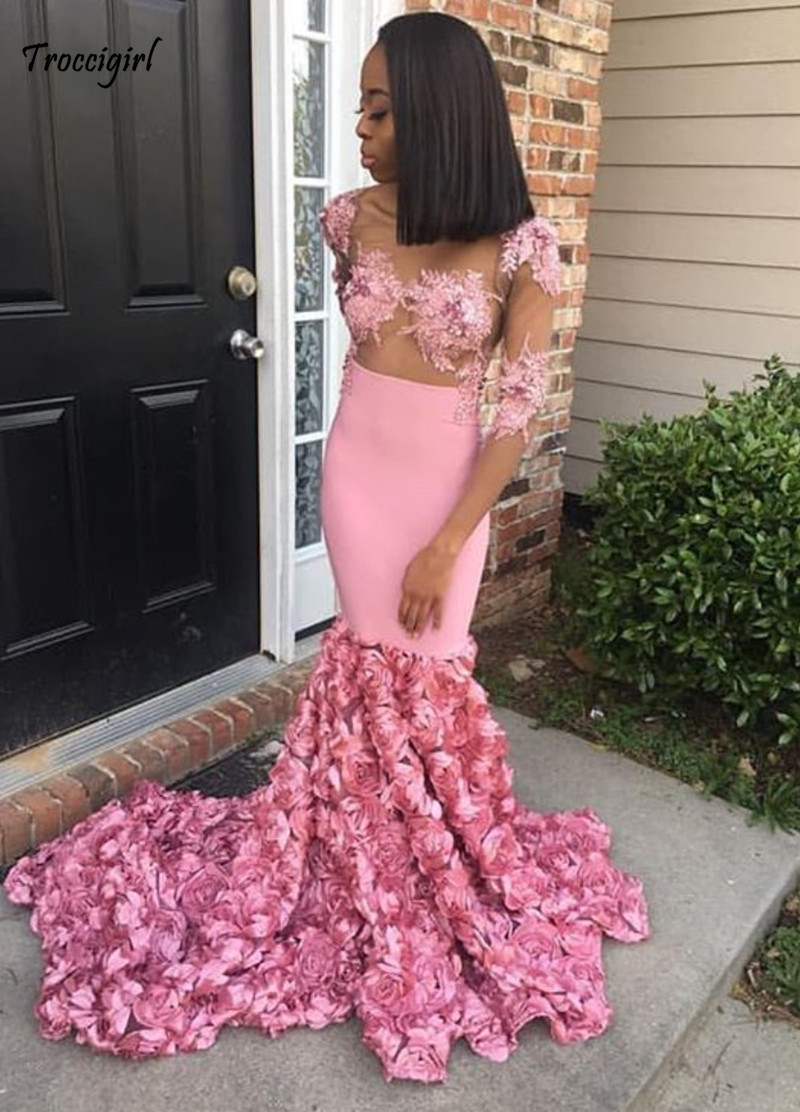 90-1                 Sexy Pink Prom Dresses 2019 See Through Mermaid Lace Appliques Plus Size Party Dress Evening Gown With 3D Rose Flowers