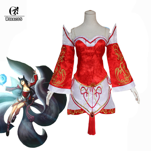 ROLECOS Game LOL Cosplay Costume Ahri Cosplay Costume the Nine-Tailed Fox Embroidery Women Costume Red Full Set