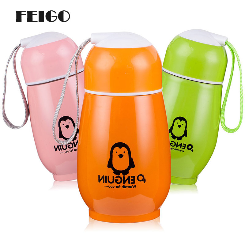 FEIGO Penguin Thermo Cup Stainless Steel kid Thermos Bottle Water Thermo Mug Cute Thermal vacuum flask child Tumbler Gift F90 Термос