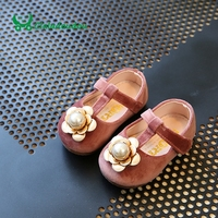 Claladoudou 11 13CM Baby Girls Shoes Gray Suede Big Pearl Flower Kids Girl Shoe Yellow Strap