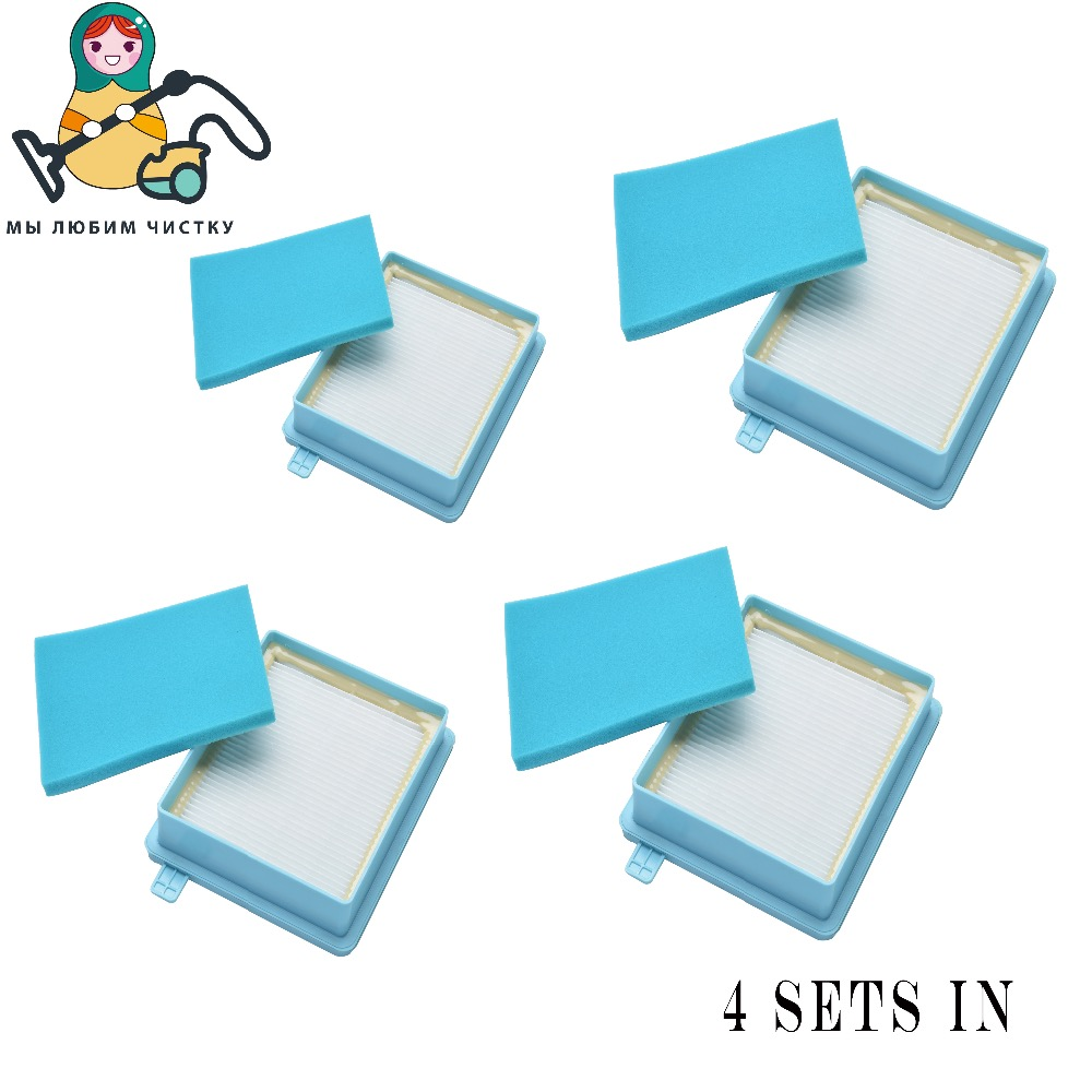 CLEAN DOLL 4 Sets  Filter HEPA  foam for Philips  PowerPro FC8470-8477 FC8630-FC8635 FC8645 FC9520-FC9525 FC8058 filter philips fc8472 01 powerpro compact