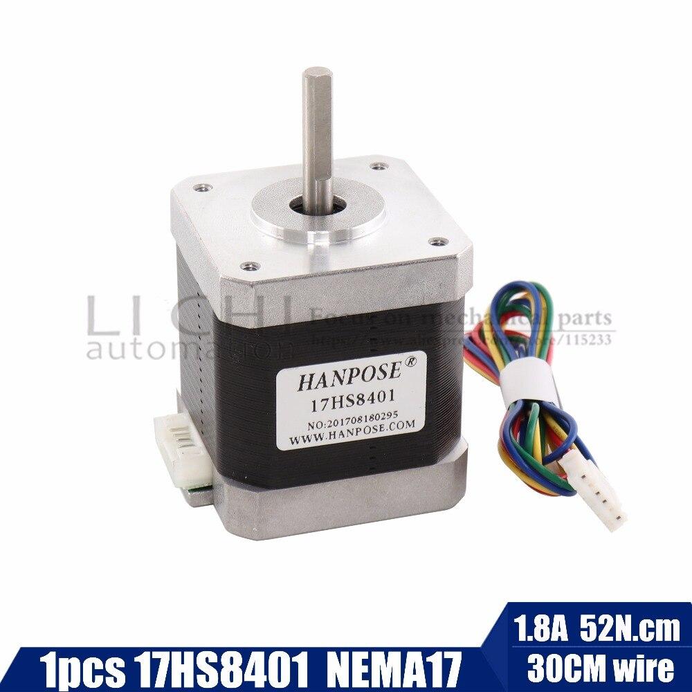 Free Shipping 1pcs Stepper Motor 4-lead Nema17 48mm / 78Oz-in / 1.8a Nema 17 motor 42BYGH 1.8A (17HS8401) motor