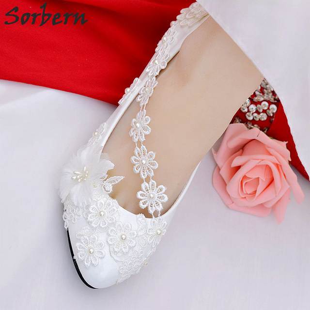Sorbern Lace Flower Applique Bridal Wedding Shoes For Bridesmaids Crystal Beading  Womens Pumps Low Heel Ladies Shoes 2018 New 5b441e057bf4