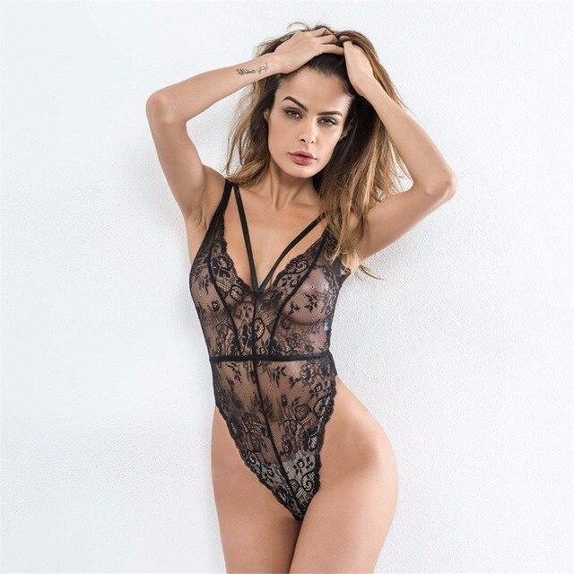 2018 Deep V Lace Bodysuit Women Sexy catsuit Bandage Sleeveless summer high  cut jumpsuit leotard bodies ae545f060