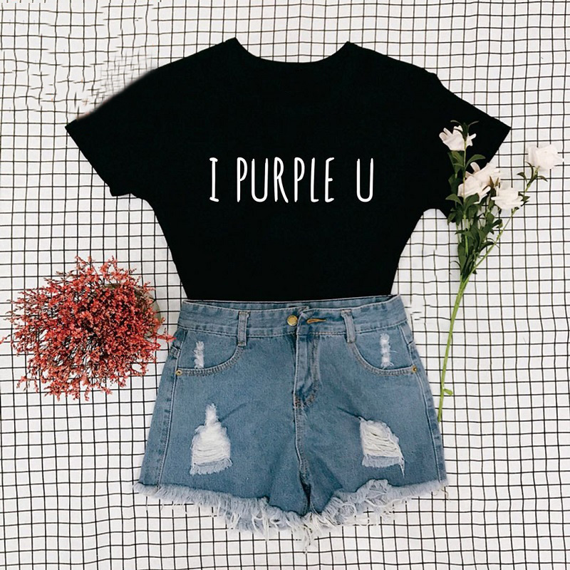 Female Short Sleeve KPOP I PURPLE U T-shirt Aesthetic High Quality Haut Femme Summer Top Tee Shirt Streetwear Cute Tshirts(China)