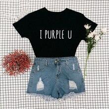 Female Short Sleeve KPOP I PURPLE U T-shirt Aesthetic High Quality Haut Femme Summer Top