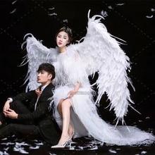 Белый большой угол крылья реквизит DIY настройки для Косплэй фотографии игра Дисплей игры вечерние Свадебные невесты крыло костюм реквизит