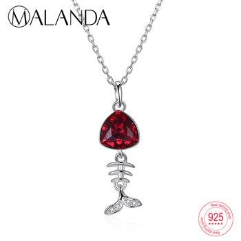 a375b0df547a MALANDA nuevo cristal de Swarovski Navidad campana estrellas colgante  collar para mujeres 925 plata ...