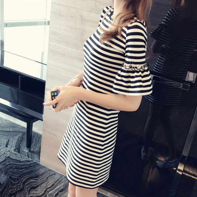23ee5a85988d ... New Summer Women's Black and White Striped Lady's Casual T-shirt Dress  Round Neck Half ...