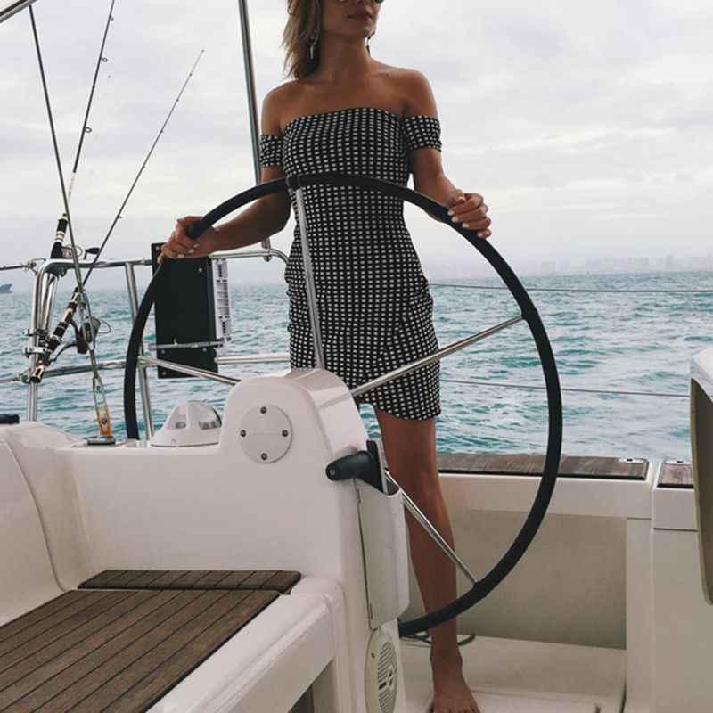 Для женщин короткий рукав с вырезом лодочкой короткий пляжное платье Для женщин сексуальное обтягивающее платье на лето