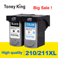 Toney King PG 210 Ink Cartridge PG210 CL211 CL 211 For Canon Pixma MP240 MP250 MP260 MP270 MP280 MP480 Printer cartridges