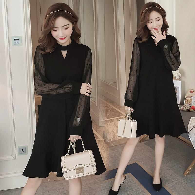 2019 Herbst Und Winter Modelle Korean Fashion Hot Mom Mesh Nähte Lange-ärmeln Mutterschaft Kleid Gefälschte Zwei Stücke Um Eine Reibungslose üBertragung Zu GewäHrleisten