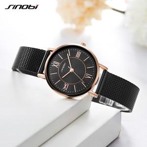Image 3 - SINOBI Hot Sale Classic Women Watches Black/Golden Luxury Simple Stainless Steel Bracelet Watch Ladies Wristwatch Reloj Mujer