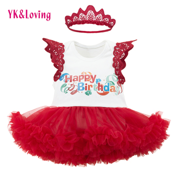 YK&Loving Red Baby Girl Dress 1 year Birthday Infant Summer Style Dress Sleeveless Printed Baby Clothes Headband Crown New Set