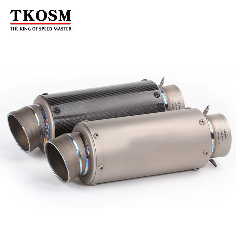 TKOSM Modified 60mm Motorcycle Titanium Alloy Carbon Fiber Exhaust Pipe Muffler Motorbike SC Laser Sticker S1000RR CBR1000 R6 K7 laser mark motorcycle modified muffler sc carbon fiber exhaust pipe for ducati 1000ss 916 916sps 996 998 999 b s r diavel