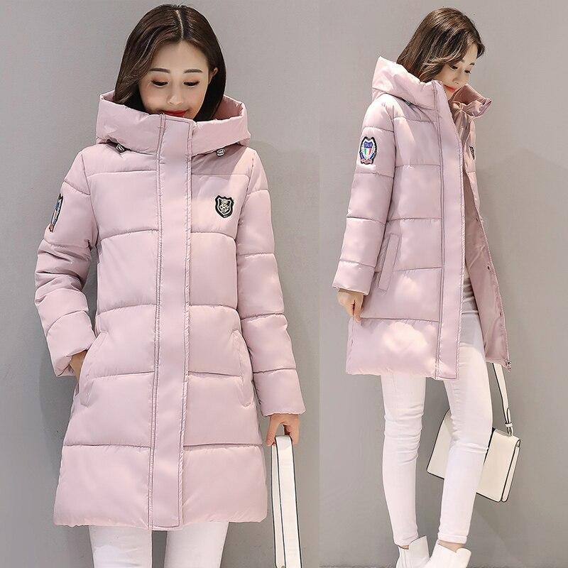 Parka   Women Winter Warm Thicken Middle-Long Slim Hooded Jackets Coat Outwear Female Korean BF Style Wadded   Parkas   Coats M-3XL