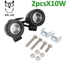 2 unids Motocicleta 10 W del Trabajo del LED Cabeza de Conducción Niebla Lámpara Del Punto de Luz A Prueba de agua
