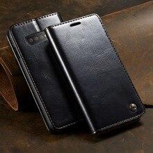Deri telefon kılıfı için Samsung Galaxy S10 manyetik kapak cüzdan kılıf kapak için Galaxy S20 S10 artı not 9 not 10 S9 Coque çapa