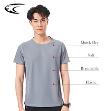 купить LXIAO 6 Colors Dry Fit Gym T Shirt O-Neck Breathable Elastic Fitness Shirt  Comfortable Short Sleeve  Quick Dry Sport Shirt Men дешево