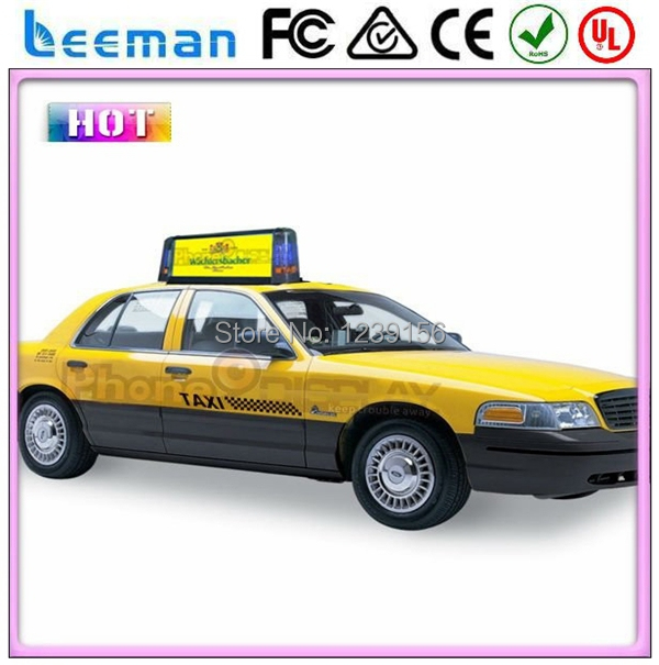 US $418 53 |Leeman Double sided taxi top advertising taxi led sign,  wireless taxi led top light display led taxi top advertising roof top-in  LED