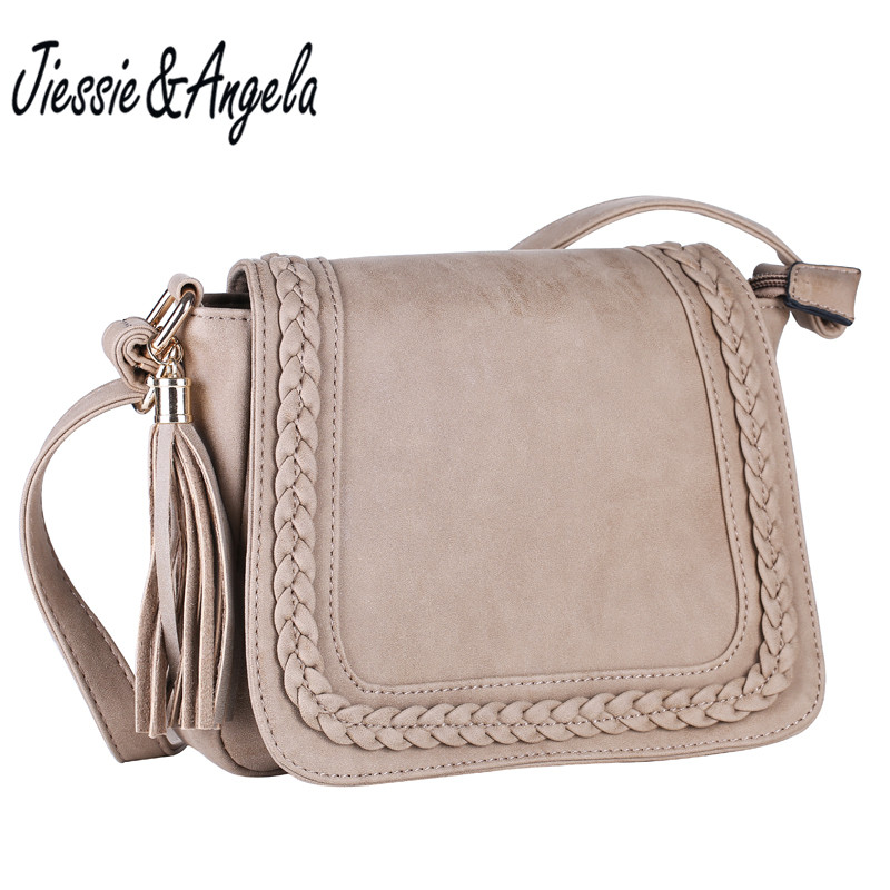 Jiessie & Angela New Vintage Shoulder Bags Wanita Messenger Bag PU Leather Handbag for Woman Designer Fashion Crossbody Shoulder