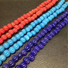 Pumpkin-Matted-Beads Bead-Strand Glass-Trade Hand-Antiqued Nepali Multi-Colors TSB0001